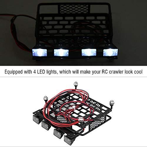 Dilwe Kleines Dachgepäckträger-Gepäckträger mit 4 Quadrate-LED-Leuchten für Axial SCX10 1/10 Remote Crawler Car( 4 Weiß)