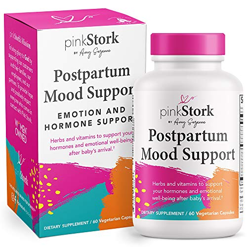 Pink Stork Postpartum Mood Support: Balance Hormones with Ashwagandha, Recovery with Prenatal Vitamins, Postpartum Essentials Formulated for Breastfeeding, Women-Owned, 60 Capsules