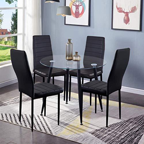 GOLDFAN Esstisch mit 4 Stühlen Moderner Küche Esstisch Rund Glas Leder Esszimmerstuhl für Esszimmer Büro Wohnzimmer, Schwarz