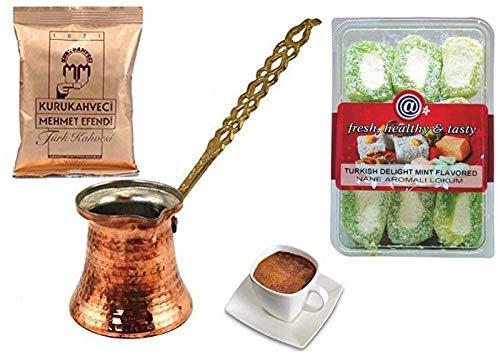 Cezve - Cafetera de cobre con mango de metal (tamaño mediano, Mehmet Efendi)