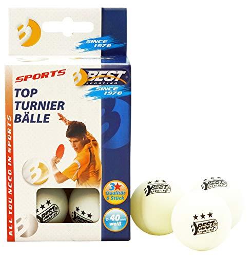 Best Sporting Tischtennisbälle, Qualität: 3 Sterne, 6 Stück, Farbe: Weiß