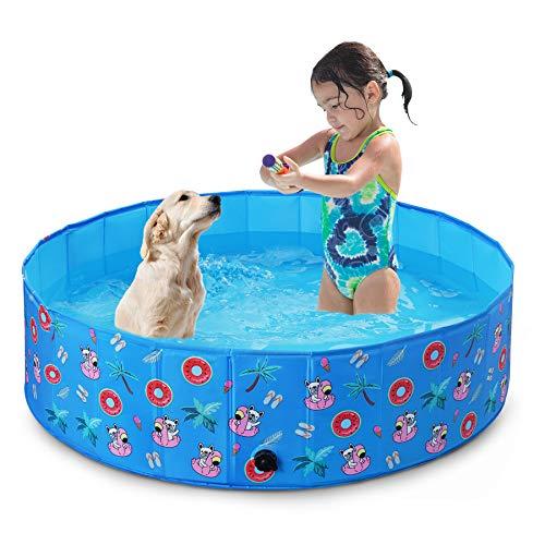 Toozey Piscina para Perros Grandes y Pequeños, 80cm / 120cm / 160cm Piscinas para Perros Plegable, Antideslizante, Piscina para Perros 100% Seguro y No Tóxico