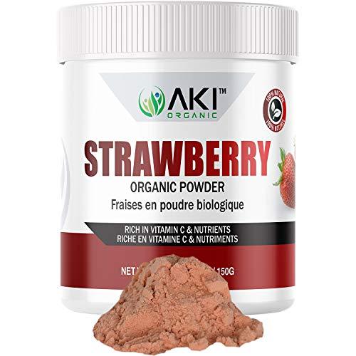 Aki Organic Strawberry Powder Dried Superfood Rich Antioxidant, Vitamin C Sugar Free, Bulk Powdered Blackberries Fruit for Baking, Flavoring, Smoothie, Yogurt, Recipes with Strawberries 5.29 Oz/150Gr