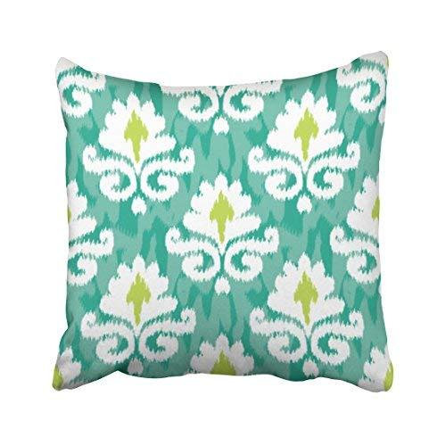 Funda de almohada decorativa para el hogar, 16 x 16, diseño de damasco de flores blancas de Indonesia amarilla con gráficos divertidos de la playa de Mindanao geométricos, fundas de cojín cuadradas decorativas para sofá, accesorios para el hogar