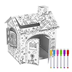 Doodle Drawing-Kids can doodle on the house with markers included to make the best of their imagination. Strong Construction-Made from high-strength cardboard with no sharp edges. Easy to assemble-Made of 4 pieces carboard.Can be easily put together ...