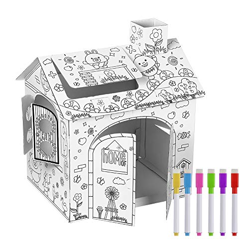 Bomessa Kids Playhouse Doodle Drawing House Coloring Indoor Outdoor Cardboard Playhouse for Toddler Boys and Girls Age 2-6 Years Old
