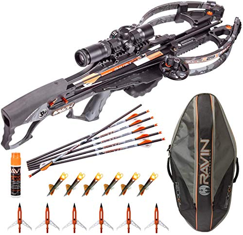 RAVIN Crossbows R29X 450 FPS Crossbow + Case with 6 Replacement Lighted Nocks, 6 Aluminum Broadheads and Serving Fluid (Soft Case)