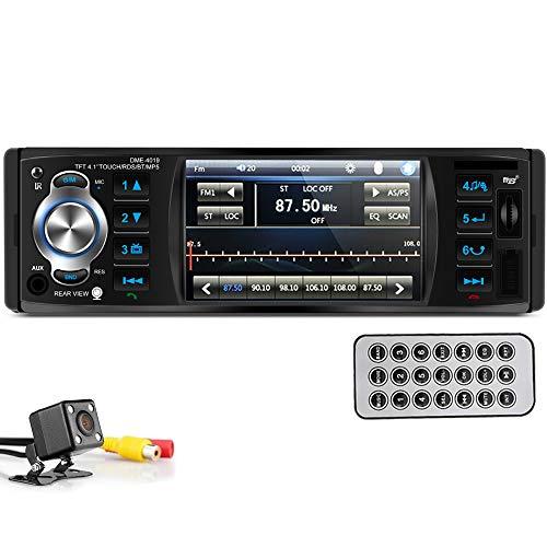 PolarLander Autoradio Bluetooth,RDS Radio Voiture, Radio Mains Libres Stéréo, 4 Pouces HD stéréo,Mirrorlink pour téléphone Android, RDS FM MP3 TF USB AUX in Multimédia Player avec caméra arrière