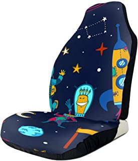 Kunpeng Space Themed Peace Sign Car Seat Covers for Front Vehicle Seat Protector Fit Most Car Truck SUV Van