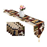 MeMoreCool Coffee Pot Table Runner and Placemats Set - Rustic Style Jacquard Cotton Linen Woven 1PC Table Runner and 4PCs Placemats Value Pack for Indoor&Outdoor Events, Multi-Colorful