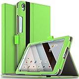 IVSO Qua tab QZ8 KYT32 タブレット ケース 新型 au Qua tab QZ8 KYT32タブレット カバー上質PUレザー ケース 超薄型 軽量カバー さらさらタイプ スタンドケース 超保護機能 シンプル Au Qua tab QZ8スマートケース グリーン