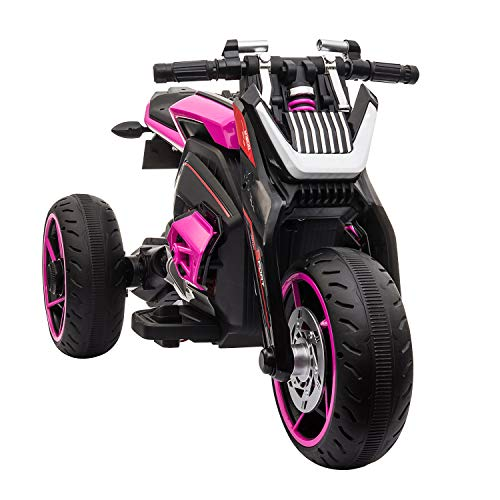 TOBBI 12V Kids Ride On Motorcycle Toys 3 Wheels Electric Trike Motorcycle for Boys and Girls in Rose Red