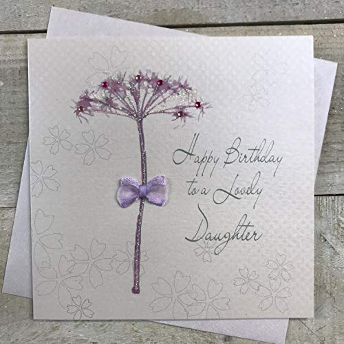Witte Katoenen Kaarten Handgemaakte Gelukkige Verjaardagskaart Aan Een Mooie Dochter Paardenbloem, Wit