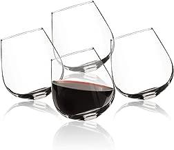 Rocking Stemless Wine Glass (Set of 4)- Rolling Tumbler for Drink Aeration- Cocktail Party & Event Hosting Glasses- Sits Upright or Spill Proof Tilt