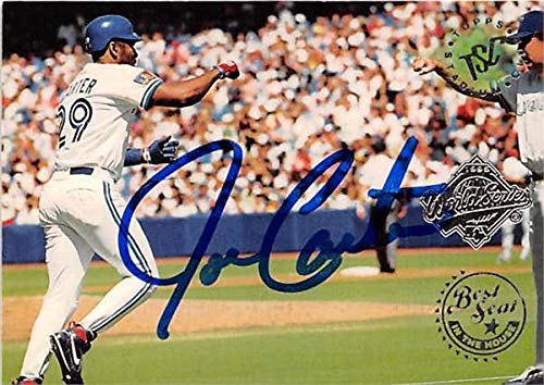 Joe Carter autographed baseball card (Toronto Blue Jays) 1995 Topps Stadium Club #215 Best Seat in the House