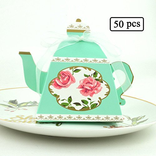 50Pcs Candy Boxes Tea Party Favors Wedding Gifts for Bridal Shower Birthday Party Candy Box Favors Decoration (Blue)
