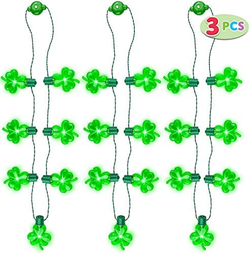 3 Pcs St Patrick s Day LED Shamrock Necklaces with 7 Bulbs Green Light Up Shamrock Necklace product image