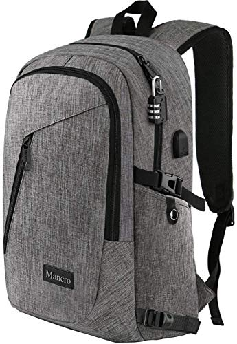 Laptop Backpack, Business Travel Water Resistant Backpacks Gift for Men Women, Anti Theft College School Bookbag, Mancro Computer Bag with USB Charging Port Lock Fits UNDER 17' Laptop Notebook (Grey)