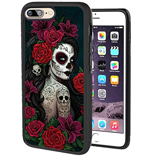 rongyixxzx iPhone 8 Plus Case, iPhone 7 Plus Case (5.5 Inch) Sugar Skull Butterfly Rose Flower