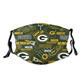 Green Bay Pac-KERS Team Logo Unisex Reusable Face Mask for Sports Fans Anti-Dust Masks Mouth Scarf Women Men Balaclava Face Protection for Outdoor with 2 Filter
