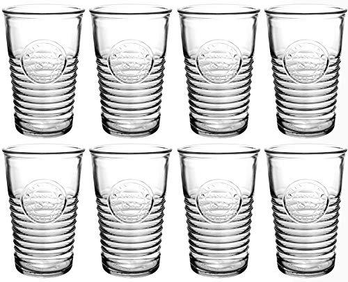 Bormioli Rocco - Wassergläser 8-teiliges Set - Officina 1825 - geriffeltes Trinkglas - 325ml - Saftglas/Wasserglas/Trinkgläser aus Glas