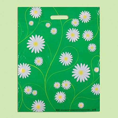 Pack de 50 bolsas de plástico con estampado de margaritas ecológicas, 40...