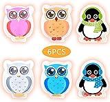 Hook Calentador de manos para niños, reutilizable, para doblar, juego de 4 búhos coloridos y 2 juegos de pingüinos, calentador de bolsillo, almohadilla térmica (blanco)