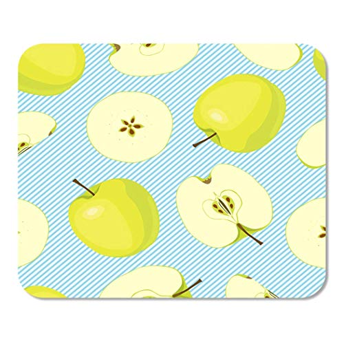 Mousepad Computer Notepad Office Brown Round on Light Blue with of Diagonal Stripes Whole Apples and Cut Green Color Home School Game Player Computer Worker Inch