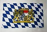 AZ FLAG Bandiera Baviera con Leone 150x90cm - Bandiera BARAVESE con Stemma - Germania 90 x 150 cm