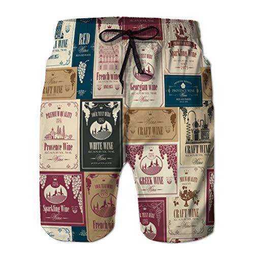 Xunulyn Summer Surf Swim Trunks Beach Shorts Pantalones sin Costuras con Varias Etiquetas de Vino