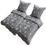 Leonado Vicenti Bettwäsche 135x200 oder 155x220 4teilig Mikrofaser Sterne Grau