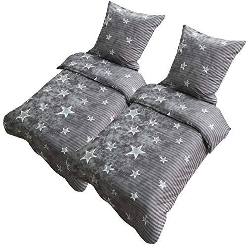 Leonado Vicenti Bettwäsche 135x200 oder 155x220 4teilig Mikrofaser Sterne Grau Galaxy mit Reißverschluss (Sterne Grau, 135 x 200 cm)