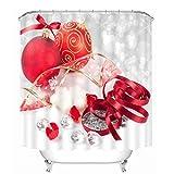 Beydodo Cortinas de Baño de Navidad,Bolas de Decoración de Navidad y Cinta Gris Blanco Rojo Grueso...