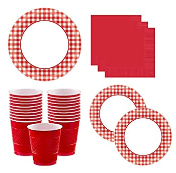 Gingham Party Supplies Pack for 40 Guests Deluxe  Extra Large Red Gingham Plates Small Plates Napkins & Cups