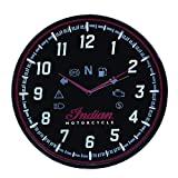 Indian Motorcycle Round Wall Clock with Modern Speedometer Design, Black