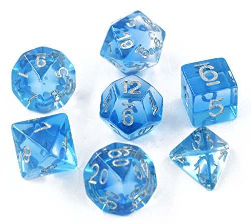 Polyhedral D&D Dice Sets - Role Playing Gaming Dice Great for Dungeons and Dragons & Tabletop Games, RGP & DND Games, Math & MTG Including Dice Pouch (Blue Aurora)