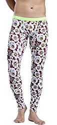 mens thermal underpants with flower pattern
