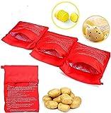 4Pezzi Sacchetto per Patate Microonde, NALCY Potato Express Bag Lavabili Riutilizzabili Microonde Patate Bag in Microonde Patate Ideale Solo in 4 Minuti, 2 x 24 x 19 cm (Rosso)