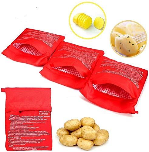 4 Stück Mikrowellen Kartoffelbeutel, NANCY Wiederverwendbarer Mikrowelle Kartoffeln Tasche in nur 4 Minuten Kartoffelbeutel Express Tasche Backen Werkzeug, Rot