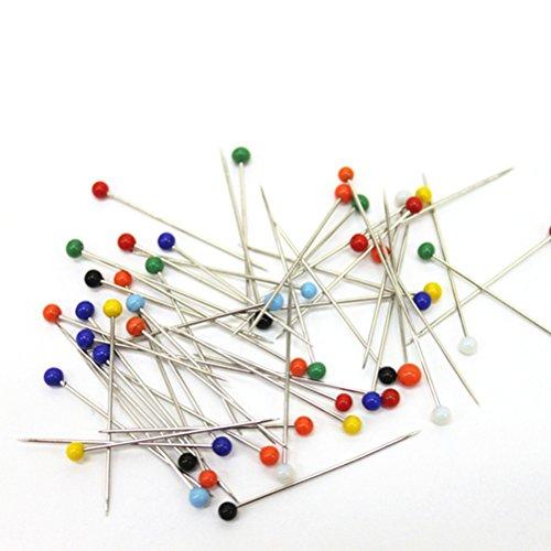 Ultnice, Stecknadeln mit Glaskopf, mehrfarbig, zum Nähen und Basteln (Kopf 4mm + Nadel 34mm), 250 Stück