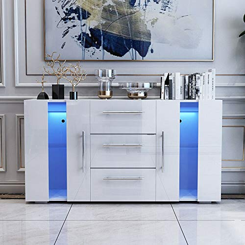 ADHW Modern Sideboard Display Cabinet Cupboard High Gloss 2 Doors 3 Drawers LED (Color : Type A-White-135)