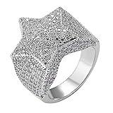 Tanwenling33 Bague Iced Out Bague Hip Hop Homme Diamant Simulé Étoile 3D Anneau Pentagramme Argent Or pour Engagement des Soirées