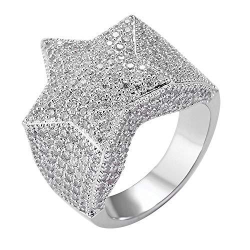 JunMei Hip Hop Pflastern Kubikzircon Iced Out Bling Star Ringe Pentagramm Ring Männer Frauen Schmuck Geschenk (Silber/Gold)