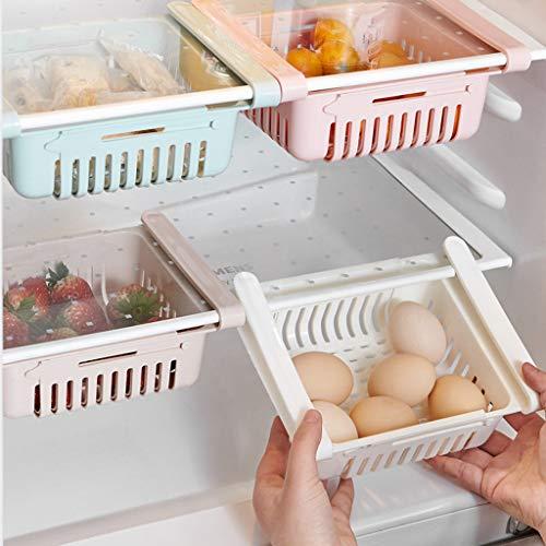Frigorífico cajones, estante ajustable de almacenamiento para frigorífico, cajas de almacenamiento para frigorífico, organizador de particiones, organizador de cajones extraíble (azul, 4 unidades)