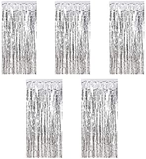 Kioneer Metallic Tinsel Curtains Silver 5 Packs 3 ft x 10 ft Foil Fringe Curtains for Photo Backdrop Door Wall Hanging Win...