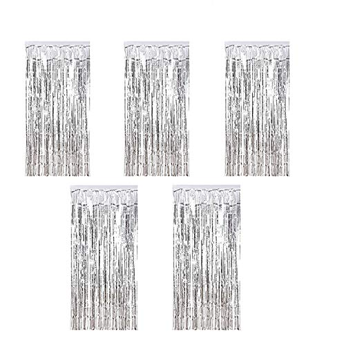 Kioneer Metallic Tinsel Curtains Silver 5 Packs 3 ft x 10 ft large Foil Fringe Curtains for Photo Backdrop Door Wall Hanging Window Curtain Party Offiice Decoration (Silver)