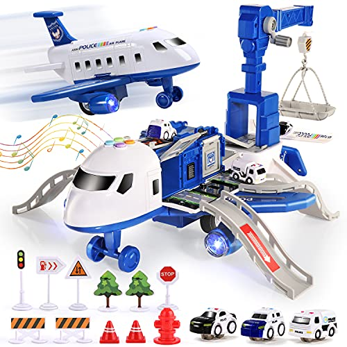 CUTE STONE Toy Airplane with Music and Light, Transport Cargo Airplane Car Toy Play...