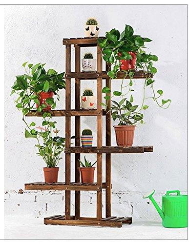 QFF Porte-fleurs en bois massif radier vert sol en plusieurs étages étagère en bois bonsai étagère en bois balcon salon intérieur ( Couleur : Carbon baking color , taille : 62*26*130cm )