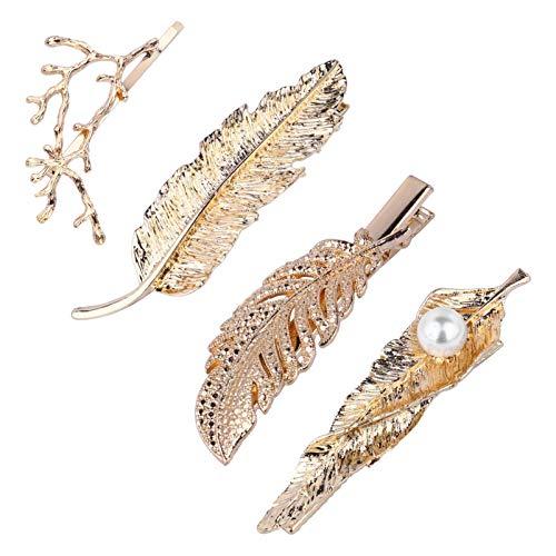 4 piezas de pinzas para el cabello de hoja de oro de aleación de plumas pasadores de horquilla para el banquete de boda pinzas para el cabello nupcial Festival Christma Girls Hair Styling Barrett