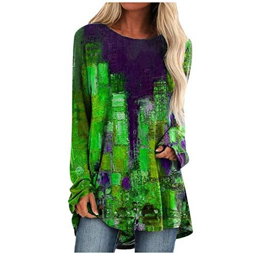 HeroHarold Camisetas de manga larga para mujer, estilo vintage, cuadradas, estilo retro, con bloques de color, abstractos, estilo túnica, casual, cuello redondo